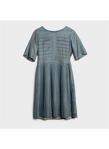 Yargıcı Nervür Detaylı Elbise İndigo